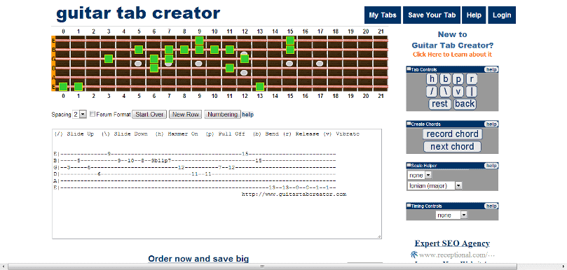 Guitar u00bb Guitar Tablature Maker - Music Sheets, Tablature, Chords and Lyrics