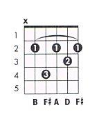 B Minor 7 Guitar Chord B m7 Guitar Chord Char...